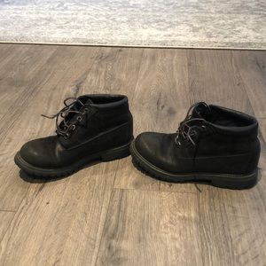 Black timberland low boots